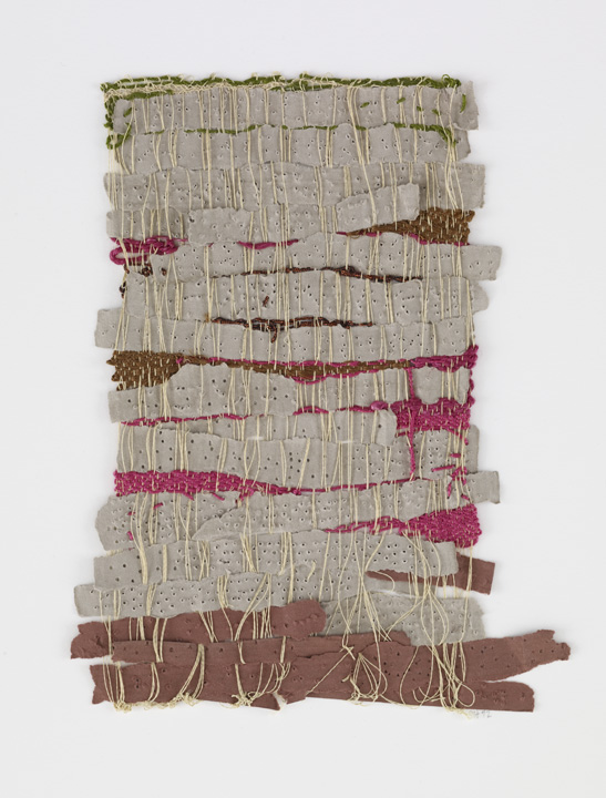 Sheila Hicks, Punched Notations, 2012. Paper and synthetic yarn, 9 1/2 x 7 1/2 inches. Andrea and José Olympio Pereira Collection.