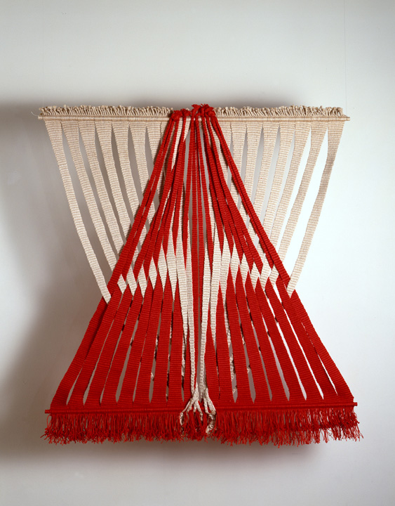 Lenore Tawney, Union of Water and Fire, 1974, Linen, 38 x 36 inches. Collection of Lenore G. Tawney Foundation