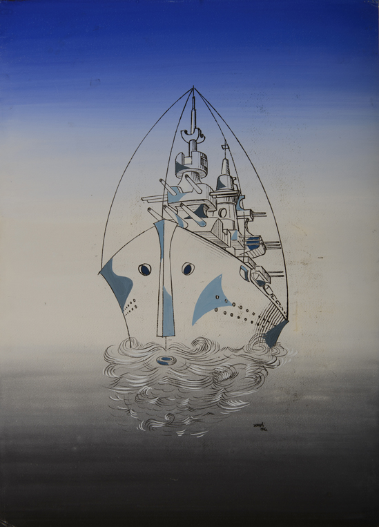 Xanti Schawinsky, The Admiral (Faces of War), 1942, Mixed media, watercolor and black pen on paper, 29 3/8 x 21 3/8 inches (74.6 x 54.4 cm), Copyright and courtesy of The Estate of Xanti Schawinsky, Switzerland