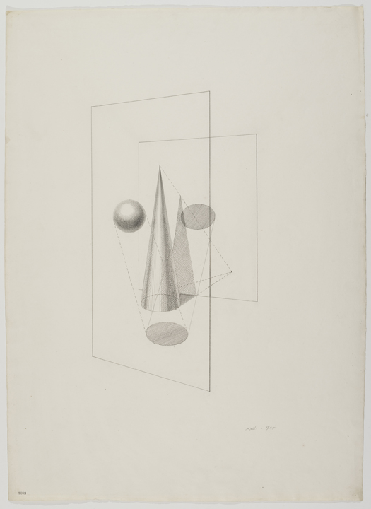 Xanti Schawinsky, Euclidian (Head Drawings), 1945, Graphite on paper, 31 1/2 x 23 inches (80.1 x 58.4 cm), Copyright The Estate of Xanti Schawinsky, Switzerland, Courtesy of The Estate of Xanti Schawinsky, Switzerland and BROADWAY 1602, New York