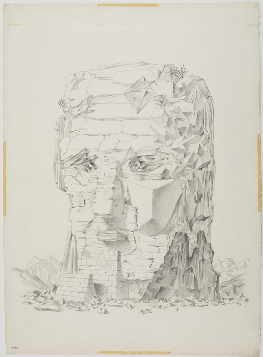 Xanti Schawinsky, Rocky Fellow (Head Drawings), 1944, Graphite on paper, 31 x 22 1/2 inches (78.74 x 57.15 cm), Copyright The Estate of Xanti Schawinsky, Switzerland, Courtesy of The Estate of Xanti Schawinsky, Switzerland and BROADWAY 1602, New York