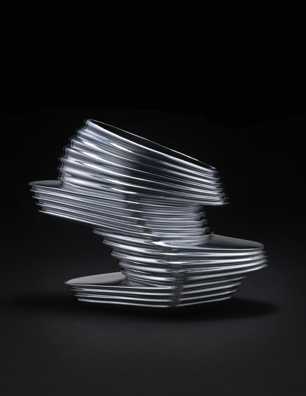 "Zaha Hadid X United Nude. ""NOVA,"" 2013. Chromed vinyl rubber, kid napa leather, fiberglass. Courtesy of United Nude. Photo: Jay Zukerkorn"