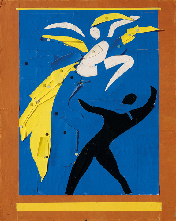 "Henri Matisse (French, 1869-1954). Two Dancers (Deux danseurs), 1937-38. Stage curtain design for the ballet Rouge et Noir. Gouache on paper, cut and pasted, notebook papers, pencil, and thumbtacks. 31 9/16 x 25 3/8"" (80.2 x 64.5 cm). Musée national d'art moderne/Centre de création industrielle, Centre Georges Pompidou, Paris. Dation, 1991. © 2014 Succession H. Matisse / Artists Rights Society (ARS), New York"