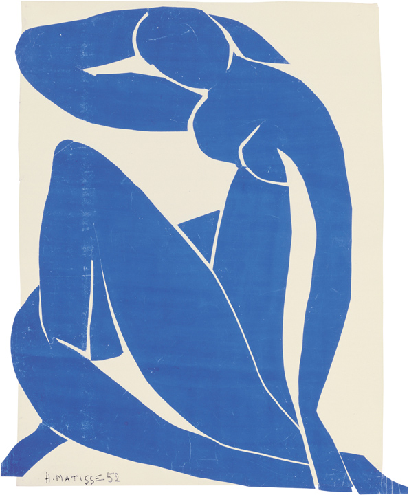 "Henri Matisse (French, 1869-1954). Blue Nude II (Nu bleu II), spring 1952. Gouache on paper, cut and pasted, on white paper, mounted on canvas. 45 ¾ x 35"" (116.2 x 88.9 cm). Musée national d'art moderne/Centre de création industrielle, Centre Georges Pompidou, Paris. Purchase, 1984. © 2014 Succession H. Matisse / Artists Rights Society (ARS), New York"