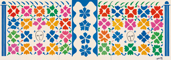 "Henri Matisse (French, 1869-1954). Large Decoration with Masks (Grande Décoration aux Masques), 1953. Preliminary maquette for ceramic. Gouache on paper, cut and pasted, and ink on white paper, mounted on canvas. 139 ¼ x 392 ¼"" (353.6 x 996.4 cm). National Gallery of Art, Washington. Ailsa Mellon Bruce Fund, 1973.17.1. © 2014 Succession H. Matisse / Artists Rights Society (ARS), New York"