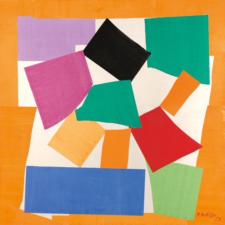 "Henri Matisse (French, 1869-1954). The Snail (L'Escargot), 1953. Gouache on paper, cut and pasted, on paper, mounted on canvas. 112 ¾ x 113"" (286.4 x 287 cm). Tate. Purchased with assistance from the Friends of the Tate Gallery, 1962. © 2014 Succession H. Matisse / Artists Rights Society (ARS), New York"