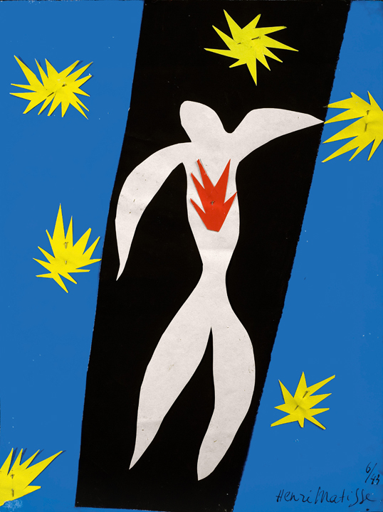 "Henri Matisse (French, 1869-1954). The Fall of Icarus (La Chute d'Icare), 1943. Gouache on paper, cut and pasted, and pins. 13 2/4 x 10 5/8"" (35 x 27 cm). Private collection. © 2014 Succession H. Matisse / Artists Rights Society (ARS), New York"