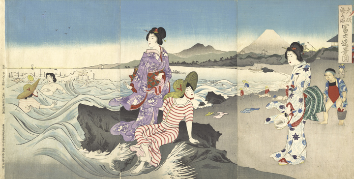 186. Swimming at Oiso by Utagawa Kokunimasa_sm