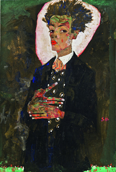 3. Egon Schiele, Self-Portrait with Peacock Waistcoat, Standing, 1911