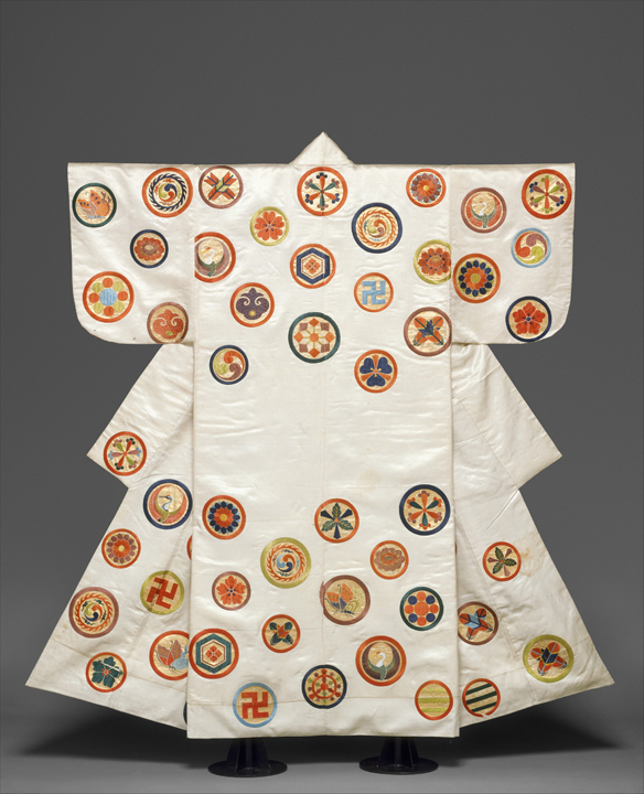 Noh Costume (Nuihaku) with Scattered Crests Japan, Edo period (1615–1868), second half of the 18th–19th century Silk embroidery and gold leaf on silk satin Overall: 65 x 53 1/2 in. (165.1 x 135.9 cm) H. O. Havemeyer Collection, Bequest of Mrs. H. O. Havemeyer, 1929 29.100.541