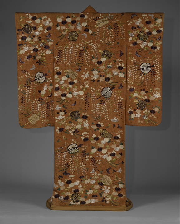40. Outer Robe (Uchikake) with Fans and Flowers_back