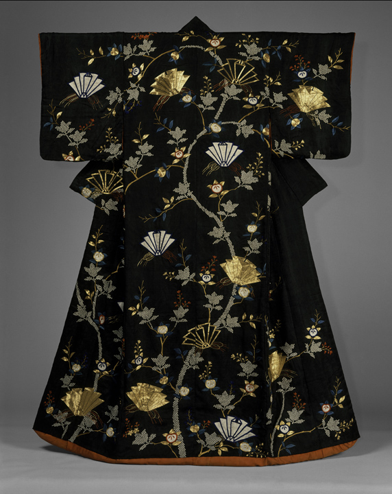 42. Over-Robe with Long-Tailed Birds in a Landscape_back