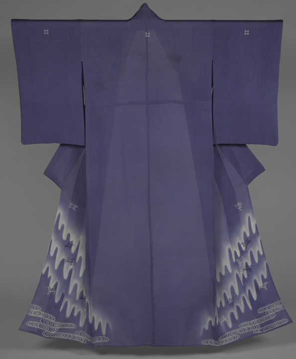 86. Unlined Summer Kimono with Plovers in Flight over Stylized Waves_back