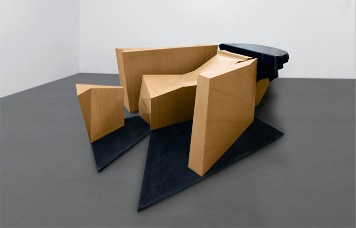 Wang Jianwei Time Temple 1, 2014 Wood and rubber Seven parts: one part 87 x 110 x 70 cm; one part 82 x 145 x 59 cm; one part 88.5 x 159 x 38 cm; one part 60 x 57 x 39 cm; one part 18 x 150 x 92 cm; one part 200 x 98 x 2 cm; one part 90 x 76 x 2 cm, dimensions vary with installation Solomon R. Guggenheim Museum, New York The Robert H. N. Ho Family Foundation Collection This work was created on the occasion of the commission Wang Jianwei: Time Temple, presented at the Solomon R. Guggenheim Museum, New York, and made possible by The Robert H. N. Ho Family Foundation All works by Wang Jianwei © 2014 Wang Jianwei, used by permission