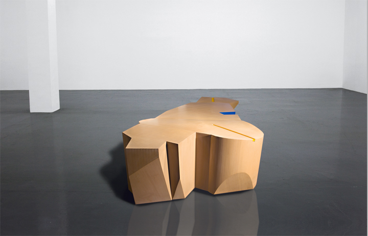 Wang Jianwei  Time Temple 4, 2014  Wood and paint  Two parts: one part 340 x 124 x 58 cm; one part 90 x 211.5 x 101.5 cm, dimensions vary with installation  Solomon R. Guggenheim Museum, New York  The Robert H. N. Ho Family Foundation Collection  This work was created on the occasion of the commission Wang Jianwei: Time Temple, presented at the Solomon R. Guggenheim Museum, New York, and made possible by The Robert H. N. Ho Family Foundation  All works by Wang Jianwei © 2014 Wang Jianwei, used by permission