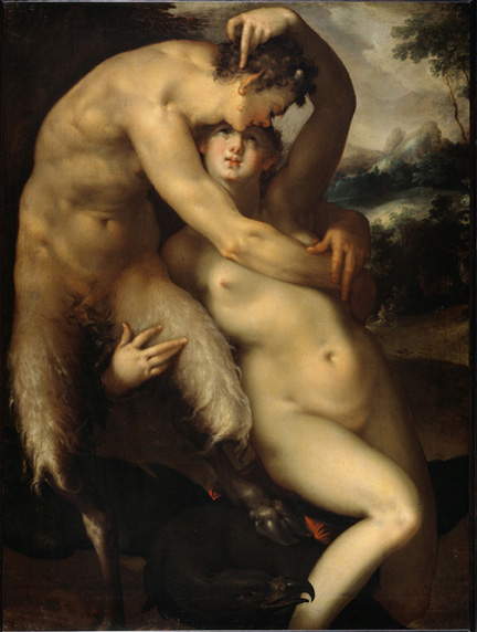 Jupiter and Antiope. Ca. 1596. Oil on canvas, 120 x 69 cm.