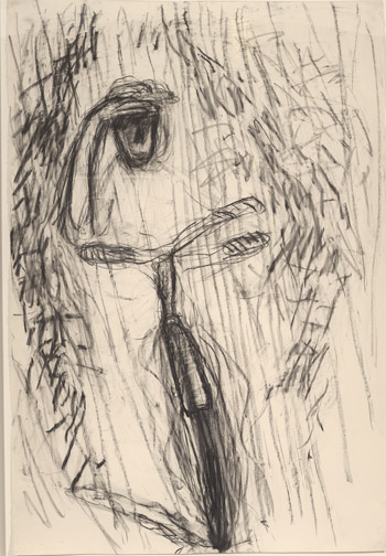 Rothenberg, Susan, 1945-, Untitled [drawing]. 1985, 1 drawing. Charcoal on paper. 61 x 42 1/2 inches (155 x 107 cm), 2013.33