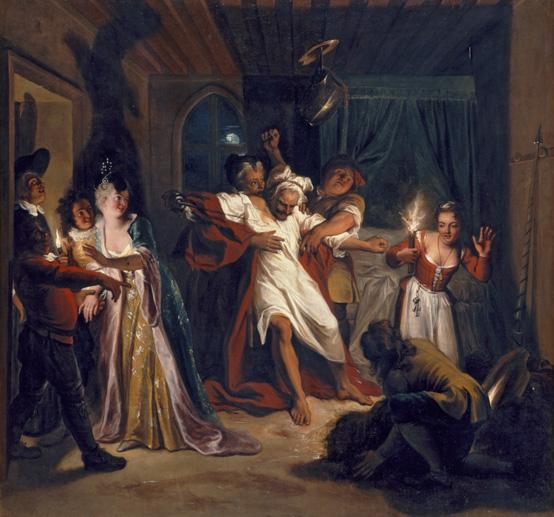 """Histoire de Don Quichotte : """"Don Quichotte endormi combat contre les outres"""""""