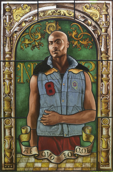 Kehinde Wiley (American, b. 1977). Arms of Nicolas Ruterius, Bishop of Arras, 2014. Stained glass, 54 x 36½ in. (137.2 x 92.7 cm). Courtesy of Galerie Daniel Templon, Paris. © Kehinde Wiley