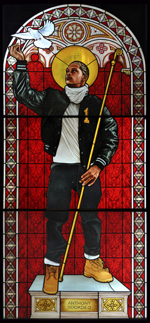 Kehinde Wiley (American, b. 1977). Saint Remi, 2014. Stained glass, 96 x 43 1/2 in. (243.8 x 110.5 cm). Courtesy of Galerie Daniel Templon, Paris. © Kehinde Wiley