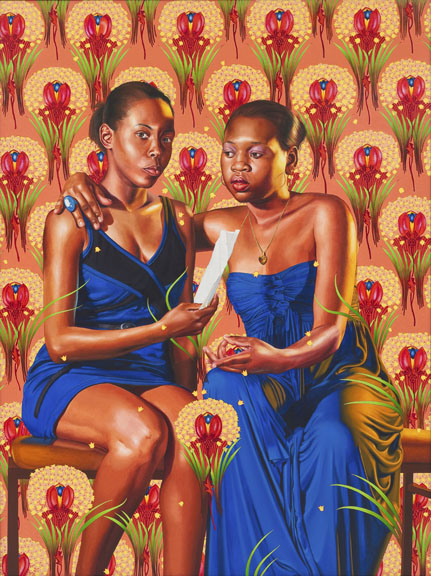 Kehinde Wiley (American, b. 1977). The Sisters Zénaïde and Charlotte Bonaparte, 2014. Oil on linen, 83½ x 63 in. (212 x 160 cm). © Kehinde Wiley. (Photo: Robert Wedemeyer, courtesy of Roberts & Tilton, Culver City, California)