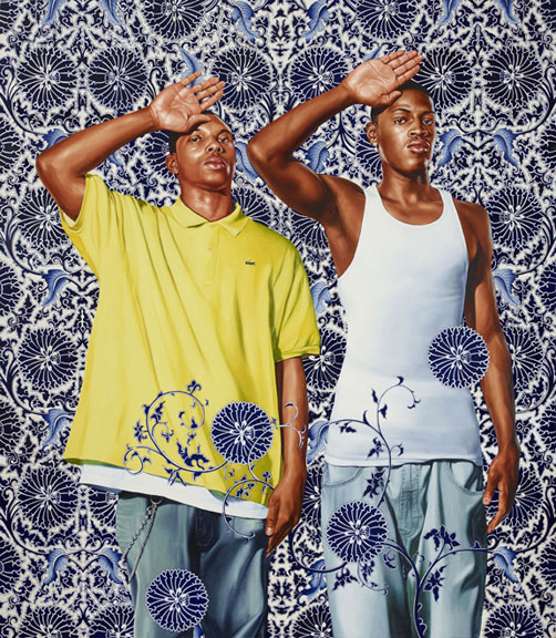 Kehinde Wiley (American, b. 1977). Two Heroic Sisters of the Grassland, 2011. Oil on canvas, 96 x 84 in. (243.8 x 213.4 cm). Hort Family Collection. © Kehinde Wiley. (Photo: Max Yawney)