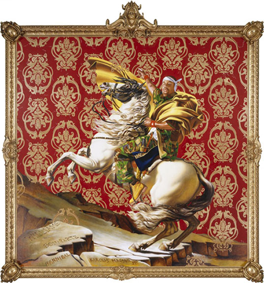 Kehinde Wiley (American, b. 1977). Napoleon Leading the Army over the Alps, 2005. Oil on canvas, 108 x 108 in. (274.3 x 274.3 cm). Collection of Suzi and Andrew B. Cohen. © Kehinde Wiley. (Photo: Sarah DiSantis, Brooklyn Museum)