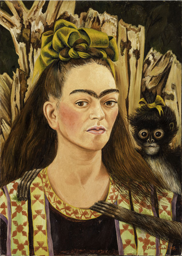 Pintura Frida Kahlo, Autorretrato con chango, 1945, FundaciÌ3n Robert Brady, A.C.