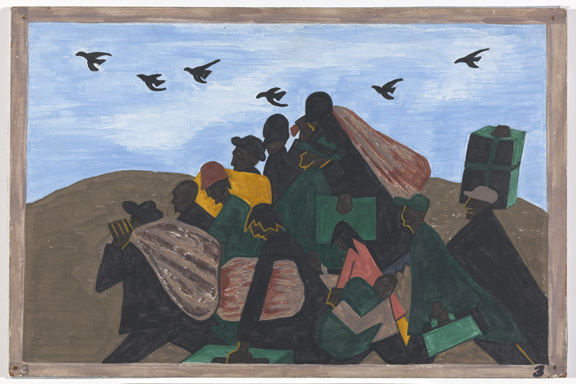 Image result for Jacob Lawrence. Panel 3 from The Migration Series, From every Southern town migrants left by the hundreds to travel north.,1940–41. Casein tempera on hardboard 12 × 18 in. (30.5 × 45.7 cm). The Phillips Collection, Washington, DC; acquired 1942. © 2019 Th