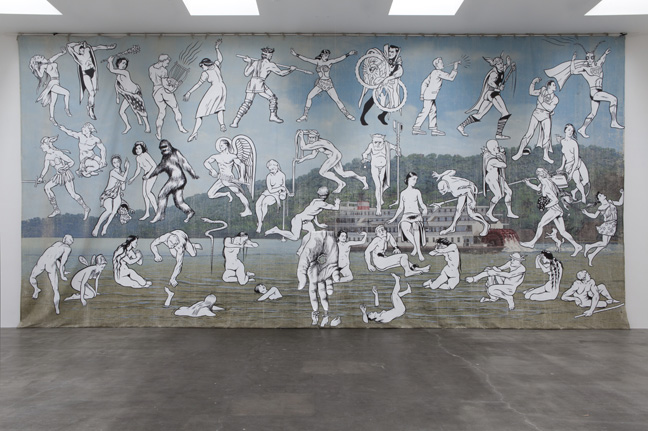 Jim Shaw Mississippi River Mural, 2013 Acrylic on muslin with aqua resin, foam, acrylic and metal rod Approximately 230 x 480 in Courtesy of the artist and Blum & Poe, Los Angeles