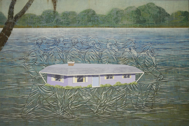 Jim Shaw The House in Mississippi, 2013                          Acrylic on muslin                                                   72 x 108 in (182.9 x 274.3 cm) Courtesy of Private Collection, Los Angeles