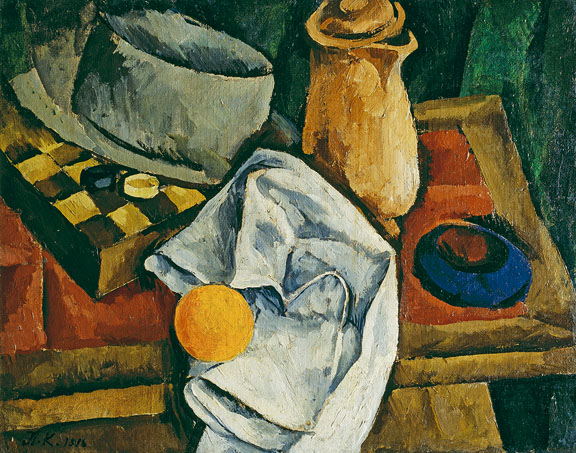 Petr Konchalovsky 1876-1956) Still-Life: Checkers, 1916 Oil on canvas 47.7 x 60.8 cm (18 ¾ x 24 in.) Petr Aven Collection © 2015 Artists Rights Society (ARS), New York / c/o Pictoright Amsterdam