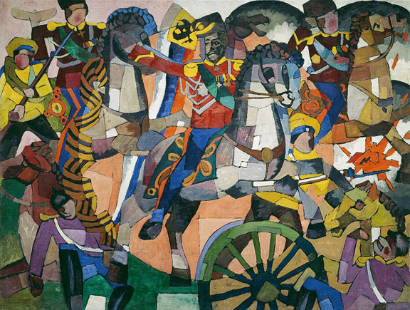 Aristarkh Lentulov (1882-1943) Victorious Battle (Military Panel), 1914 Oil, bronze, and silver paint on canvas 137.5 x 183 cm (54 1/8 x 72 in.) Petr Aven Collection