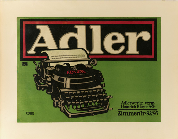 Lucian Bernhard (German, 1883–1972) for Adler (Germany). Adler Typewriter, 1909–10. Lithograph. Printed by Hollerbaum & Schmidt (Berlin, Germany). 34.5 x 47 cm (13 9/16 x 18 1/2 in.). Gift of the Eric Kellenberger Collection, Switzerland, and museum purchase from General Acquisitions Endowment, 2005-12-2. Photo by Matt Flynn.