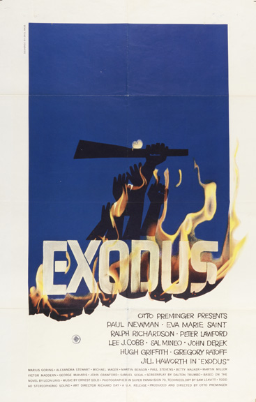 Saul Bass (American, 1920–1996). Exodus, 1961. Offset lithograph. Printed by National Screen Service Corporation (USA). 104 x 68.5 cm (40 15/16 x 26 15/16 in.). Gift of Sara and Marc Benda, 2010-21-16. Photo by Matt Flynn.