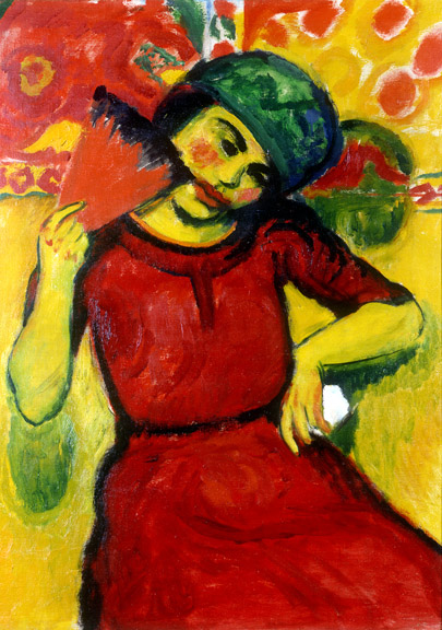 Hermann Max Pechstein (1881-1955) Young Woman with Red Fan, ca. 1910 Oil on canvas 100 x 71 cm (39 3/8 x 28 in.) Neue Galerie New York. This work is part of the collection of Estée Lauder and was made available through the generosity of Estée Lauder © 2015 Artists Rights Society (ARS), New York / Pechstein Hamburg / Toekendorf / VG Bild-Kunst, Bonn