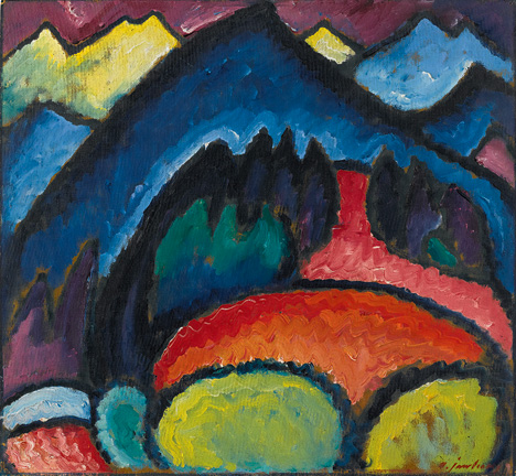 Alexei von Jawlensky (1864-1941) Oberstdorf – Mountains, 1912 Oil on board 49.5 x 53.7 cm (19 ½ x 21 1/8 in.) Petr Aven Collection © 2015 Artists Rights Society (ARS), New York