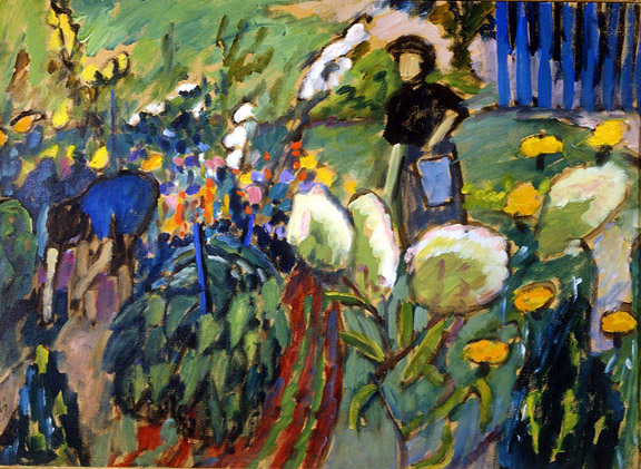 Gabriele Münter (1877-1962) Woman in Garden, 1912 Oil on canvas 38.25 x 66 cm (19 x 26 in.) Neue Galerie New York. This work is part of the collection of Estée Lauder and was made available through the generosity of Estée Lauder © 2015 Artists Rights Society (ARS), New York / VG Bild-Kunst, Bonn