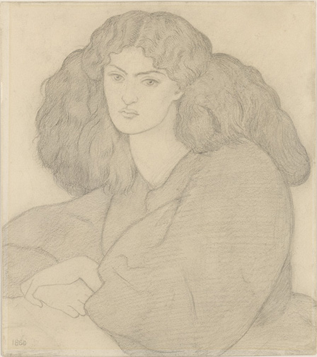 Rossetti, Dante Gabriel, 1828-1882, Portrait of Mrs. William Morris, nee Jane Burden [drawing], 1860, 1 drawing, 1961.3