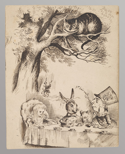 Cheshire Cat and Mad Tea Party, drawing 3  Carroll, Lewis, 1832-1898.   Nine drawings made after Tenniel's proof engravings for Alice's Adventures in Wonderland (Private Collection)  [1865]