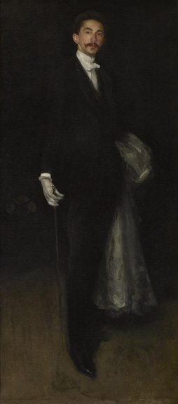 James Abbott McNeill Whistler (1834 - 1903)  Arrangement in Black and Gold: Comte Robert de Montesquiou-Fezensac, 1891-1892 oil on canvas 82 1/8 in. x 36 1/8 in. (208.6 cm x 91.76 cm) Henry Clay Frick Bequest. Accession number: 1914.1.131
