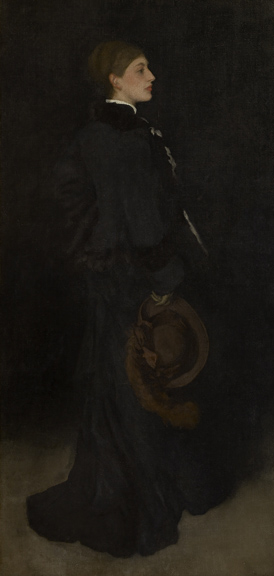 James Abbott McNeill Whistler (1834 - 1903)  Arrangement in Brown and Black: Portrait of Miss Rosa Corder, 1876-1878 oil on canvas (lined) 75 3/4 in. x 36 3/8 in. (192.41 cm x 92.39 cm) Henry Clay Frick Bequest. Accession number: 1914.1.134