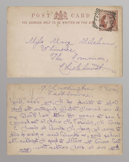 Dodgson, Charles Lutwidge, 1832-1898.   Autograph postal card signed : Eastbourne, to Mary Mileham, [1884 Sept. 14].  MA 8624.1 recto