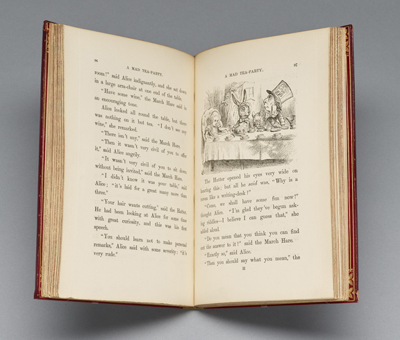 Carroll, Lewis, 1832-1898.   Alice's adventures in Wonderland. /  London : Macmillan and Co., 1865.   PML 352027 as on object, open to p. 96-97