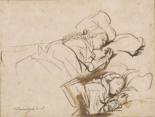 Rembrandt Harmenszoon van Rijn, 1606-1669, Two Studies of Saskia Asleep [drawing], ca. 1635-1637, I, 180