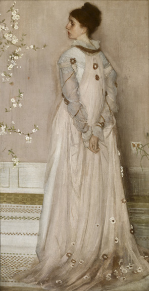 James Abbott McNeill Whistler (1834 - 1903)  Symphony in Flesh Colour and Pink: Portrait of Mrs Frances Leyland, 1872-1873 oil on canvas 77 1/8 in. x 40 1/4 in. (195.9 cm x 102.24 cm) Henry Clay Frick Bequest. Accession number: 1916.1.133