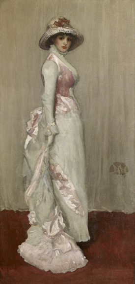 James Abbott McNeill Whistler (1834 - 1903)  Harmony in Pink and Grey: Portrait of Lady Meux, 1881-1882 oil on canvas 76 1/4 in. x 36 5/8 in. (193.68 cm x 93.03 cm) Henry Clay Frick Bequest. Accession number: 1918.1.132