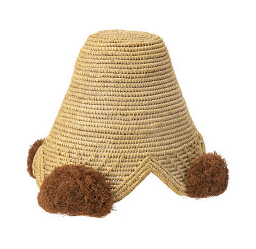 Man's cap (laket). Kuba peoples, Democratic Republic of the Congo, late 19th–early 20th century. Looped raffia, raffia pompoms. 16.5 x 23.5 cm (6 1/2 x 9 1/4 in.). Museum purchase from Au Panier Fleuri Fund, 1957-110-14. Photo: Matt Flynn.