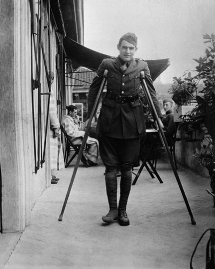 "EH2532P c. 1918 Ernest Hemingway on crutches in Milan. Please credit "" Papers of Ernest Hemingway. Photograph Collection. John F. Kennedy Presidential Library and Museum, Boston"""