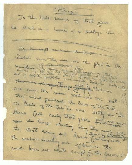 Ernest Hemingway, A Farewell to Arms autograph manuscript, chapter 1, p. 1, (The Ernest Hemingway Collection / Kennedy Presidential Library)